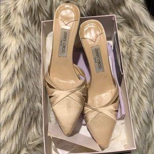 Jimmy Choo beige satin  low heel shoe